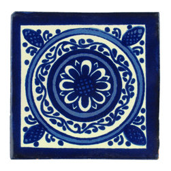 Mexican Artisans - Indigo Talavera Tiles, Box of 15 - Originating in Spain and a specialty of Mexican artisans for centuries, handmade Talavera tiles are renowned for their color, pattern, texture and durability. Let these blue and white beauties brighten up your kitchen, bathroom or wherever you need tile with style.