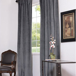 Half Price Drapes - Natural Grey Blackout Velvet Pole Pocket Single Panel Curtain, 50 X 96 - - Soft plush pile Velvet Curtains have a natural luster with a depth of color that creates a formal, polished look. Made of high-quality, poly velvet and soft flowing polyester blackout thermal lining. The curtains keep the light out and provides for optimal insulation.   - Single Panel   - 3 Rod Pocket   -   - Pole Pocket with Back Tab & Hook Belt Attached. Can be hung using rings. (Not Included)   - Dry clean   - 100% Poly Velvet   - Lined with a 100% Polyester Plush Blackout Material   - 50x96   - Imported   - Grey Half Price Drapes - VPCH-184005-96