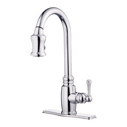 """Danze - Danze D454557 One Handle Kitchen Pull-Down Chrome - Danze D454557 Chrome Single Handle Pull-Down Kitchen Faucet is part of the Opulence Kitchen collection.  D454557 Single hole mount Pull-Down Kitchen Faucet has a 7 1/2"""" long and 17 3/4"""" high spout, with 2 function spray/aerated stream.  Optional deck plate included.  D454557 Single lever handle meets all requirements of ADA.  California and Vermont compliant."""