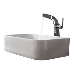 Kraus - Kraus White Rectangular Ceramic Sink and Typhon Faucet Chrome - *Add a touch of elegance to your bathroom with a ceramic sink combo from Kraus