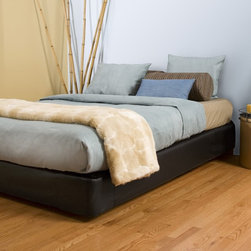Black Faux Leather King Boxspring Cover - The Boxspring Cover works as a fitted bedskirt. Black Faux leather cover provides the perfect base for your Fits most standard size boxspring mattresses.