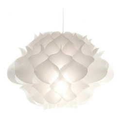 ecofirstart.com - Phrena Pendant in White - Blooming brilliant, this beautiful pendant light ships flat and opens easily into a modern, textural flower. The shade is made from folds of white, strong, temperature resistant Tyvek and can be configured for either up or down lighting.