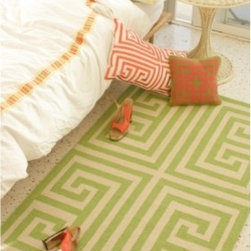 Trina Turk Greek Key Hook Rug - Add vibrant color and a classic pattern to any room in your home with this small rug from Trina Turk.