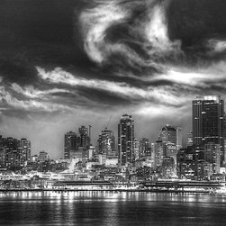 Seattle Skyline at Night, 8x10, Print - Did you ever live in Seattle? Do you now? Perhaps you just fell in love with the notion of the city after watching 'Sleepless in Seattle'? :) This image, taken from a ship temporarily an anchor in the harbour, depicts the downtown area, high rise buildings aglow, light reflections in the water and a dramatic cloudy sky.
