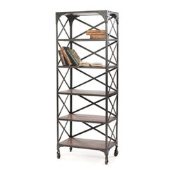 Go Home - Warehouse Crossback Book Shelf - Good looks, clean lines and wheels grace this trendy urban-inspired bookshelf! Crafted with design and function in mind, this will make a fashionable home for your books and add a ���city chic� vibe to a bedroom, living room or den. Or, use it in the kitchen for cookbooks and other essentials.