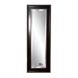 Rayne Mirrors - American Made Black / Silver Caged Trim 23.75 x 62.75 Slender Beveled Body Mirro - Add new depth to your decor with this appealing full length mirror design.  Its deep black frame with a raised outer border of silver detailing adds a modern or transitional style accent. Each Rayne mirror is hand crafted and made to order with from American products.  Each Rayne mirror is hand crafted and made to order with American products.  All hardware included for vertical or horizontal hanging, or perfect to lean against a wall.