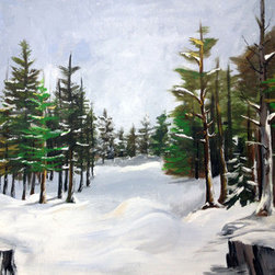 Snowy Forest (Original) by Shawn Hart - This painting plays with light to capture that quiet moment in the forest right after a fresh snow. Hang by itself or within a frame.