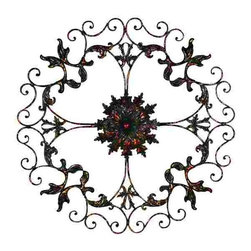 """UMA - 46"""" Beluno Wrought Iron Wall Decor - An unbroken chain of pattern and intricate scrollwork allow your mind to wander and interpret an unending array of images"""