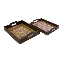 iMax - Zyanya Trays, Set of 2 - With printed mendong grass interiors, this set of two Zyanya trays feature unique pattern and a glass insert. Comes in small and large stackable set.