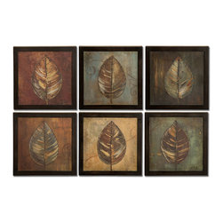 Uttermost - New Leaf Panel I, II - Set Of 6 - These oil reproductions feature a hand applied brushstroke finish. Frames have a medium brown undertone with heavy black distressing. Each print is 14x14.