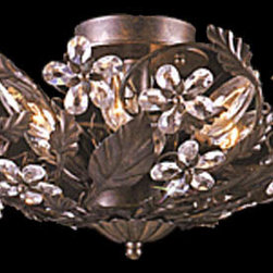 Crystorama Lighting Group - Paris Flea Large Dark Rust Semi-Flush - Dress up your favorite room with this sparkling semi-flush.  You will fall for its hand cut crystal petals, grand leaves, and dark rust finish that combine to create a look of pure enchantment.  An admirable way to light any space, this piece is a sparkling array of fine taste.   Crystorama Lighting Group - 5316-DR