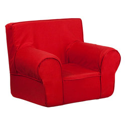 Flash Furniture - Small Solid Red Kids Chair - This comfy foam chair is a fun piece of furniture for children to enjoy for reading and relaxing. The lightweight design with carrying handle will allow this chair to be toted in several locations. The slipcover can be removed for cleaning or spot cleaned upon accidents.