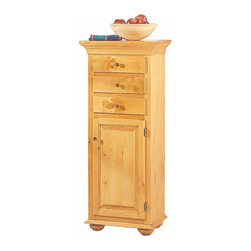 The Renovators Supply - Cupboards Heirloom Wood Jelly Cabinet Pine 48 H x 17 3/4 W | 189615 - Jelly Cabinet. Three handy drawers on top and plenty of space behind the bottom door. Our jelly cupboard is 48 in. high x 17 3/4 in. wide x 13 in. deep.