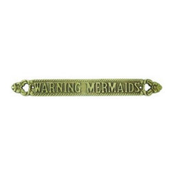 """Handcrafted Model Ships - Solid Brass Warning Mermaids Sign 13"""" - Nautical Brass Sign - Ideal for posting in a room featuring a nautical decor theme, this Solid Brass Warning Mermaids Sign 13"""" gives a humorous spin on any nautical themed home or beach theme homes. With a textured background and polished framing, this distinctive sign will be a perfect nautical gift, or make you feel like you're on the beach when at home or the office."""