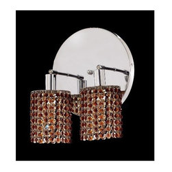 Elegant Lighting - Mini Topaz Crystal Sconce w 2 Lights in Chrome (Strass Swarovski) - Choose Crystal: Strass Swarovski. Bulbs not included. Crystal Color: Topaz (Brown). Chrome finish. Number of Bulbs: 2. Bulb Type: GU10. Bulb Wattage: 55. Max Wattage: 110. Voltage: 110V-125V. Assembly required. Meets UL & ULC Standards: Yes. 9 in. D x 13.5 in. H (6lbs.)Description of Crystal trim:Royal Cut, a combination of high quality lead free machine cut and machine polished crystals & full-lead machined-cut crystals..SPECTRA Swarovski, this breed of crystal offers maximum optical quality and radiance. Machined cut and polished, a Swarovski technician¢s strict production demands are applied to this lead free, high quality crystal.Strass Swarovski is an exercise in technical perfection, Swarovski ELEMENTS crystal meets all standards of perfection. It is original, flawless and brilliant, possessing lead oxide in excess of 39%. Made in Austria, each facet is perfectly cut and polished by machine to maintain optical purity and consistency. An invisible coating is applied at the end of the process to make the crystal easier to clean. While available in clear it can be specially ordered in a variety of colors.Not all trims are available on all models.