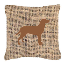 Caroline's Treasures - Labrador Burlap and Brown Fabric Decorative Pillow Bb1116 - Indoor or Outdoor pillow made of a heavy weight canvas. Has the feel of Sunbrella fabric. 14 inch x 14 inch 100% Polyester Fabric pillow Sham with pillow form. This pillow is made from our new canvas type fabric can be used Indoor or outdoor. Fade resistant, stain resistant and Machine washable.