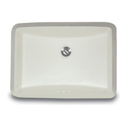 "UM-18x12-B - 18"" x 12"" Undermount Rectangle Ceramic Vanity Sink with Overflow. Available in White or Bisque."