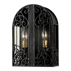 World Imports - Sevilla Wall-Mount 2-Light Outdoor Sconce, Rust - Durable iron in a rust finish for an authentically antique look
