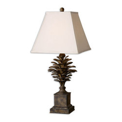 Uttermost - Uttermost 27667 Suzuha Lamp - Uttermost 27667 Grace Feyock Suzuha LampMetal leaves finished in a heavily burnished antique wash with light undertones. The square straight-sided shade is an ivory linen fabric.Features: