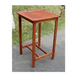 Vifah - Dartmoor Bar Table in Premium Plantation Teak - Design: This special table for two is a cozy alternative to classic outdoor dining. Stylish, sleek and strong, this table is a perfect addition to any patio or sidewalk caf�. If you are only looking to furnish a small courtyard area or balcony, this is the table for you. Even if you've got a larger area where you'd like to add tables around the pool or across the patio, this is a great piece of furniture. You can create many smaller conversation areas by placing a few of these tables with matching chairs throughout the landscape. That's what is so great about it! Besides its versatility, the Dartmoor Square table is strong and resilient. You can leave it out on the patio all the year through and its life span will not be affected. Material: The Dartmoor Bar Table is made of Premium Plantation Teak which is grown in sustainable production throughout the seasonally dry tropics in forestry plantations. Plantation grown teak is not exactly the same with the old-growth teak, which is reputable for durability, structural strength, attractive appearance, and sanity smooth surface. However kiln drying allows for sustainable, plantation-grown teak to perform nearly on par with old-growth teak. Similar to the old-growth teak, plantation-grown teak has a rich golden color throughout its grain, and provides an elegant look for any outdoor wood products. It also has a lot of natural oils that make it water repellent, insect resistant, and suitable for use in exposed locations. The wood also has the unique qualities of not rotting or accumulating rust even when joined with metal.