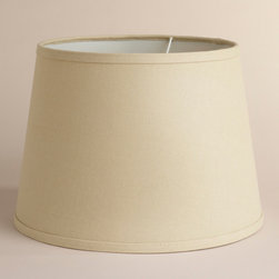 World Market - Off-White Cotton-Linen Table Lamp Shade - A simply elegant choice, our Off-White Cotton-Linen Table Lamp Shade complements all decors while casting soft ambient light onto your room. It offers a quick, high-quality style update, at a price you won't find anywhere else. The perfect size for an end table or console table, our affordable Table Lamp Shades coordinate with our wide selection of Table Lamp Bases, so you can create the perfect ensemble to fit your style, space and budget.
