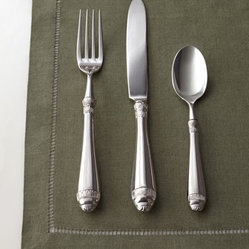 "Horchow - Five-Piece ""Renaissance"" Flatware Place Setting - Hollow handles and a cylindrical shape combine with intricate designs on the tops and bottoms of the handles for a pattern that sets this flatware apart from the rest. Made of 18/10 stainless steel. Dishwasher safe. Five-piece place setting includes...."