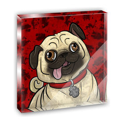 "Made on Terra - Pug Sticking Out Tongue Mini Desk Plaque and Paperweight - You glance over at your miniature acrylic plaque and your spirits are instantly lifted. It's just too cute! From it's petite size to the unique design, it's the perfect punctuation for your shelf or desk, depending on where you want to place it at that moment. At this moment, it's standing up on its own, but you know it also looks great flat on a desk as a paper weight. Choose from Made on Terra's many wonderful acrylic decorations. Measures approximately 4"" width x 4"" in length x 1/2"" in depth. Made of acrylic. Artwork is printed on the back for a cool effect. Self-standing."