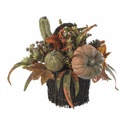 "Nearly Natural - Nearly Natural Fall Pumpkin and Berry Table Arrangement - With a cornucopia of autumn goodness cascading out of its lovingly crafted twig-wrapped base, this 15"" table piece will be the showpiece of your holiday table (apologies to your holiday turkey and cranberry sauce, of course). And here's the best part: your ��_nearly natural"" table piece will never spoil, meaning it'll become as much a tradition as your special holiday silverware."