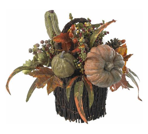 """Nearly Natural - Nearly Natural Fall Pumpkin and Berry Table Arrangement - With a cornucopia of autumn goodness cascading out of its lovingly crafted twig-wrapped base, this 15"""" table piece will be the showpiece of your holiday table (apologies to your holiday turkey and cranberry sauce, of course). And here's the best part: your ��_nearly natural"""" table piece will never spoil, meaning it'll become as much a tradition as your special holiday silverware."""