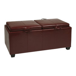 Office Star - Office Star Metro Storage Bench Ottoman with Trays in Red Faux Leather - Office Star - Ottomans - MET302RD - The Metro Ottoman is a stylish new contemporary living room accent that also boasts a nice measure of practicality. Each faux leather cushion is flip-sided by a matching espresso-wood finished serving tray and the bench itself features open interior storage. Matching hardwood block feet complete the appeal of the Metro Storage / Tray Ottoman.