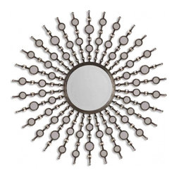 Uttermost - Kimani Antiqued Silver Round Mirror - Frame is finished in antiqued silver with burnished details and features numerous, small accent mirrors. Center mirror is beveled.