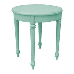EuroLux Home - New Side Table Blue Painted Hardwood Round - Product Details