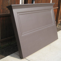 "Vintage Headboards - Painted a Satin Espresso Brown - this Vintage Headboard was made from a 90+ year old door!  An extension was added so that the headboard can rest on the floor or with the optional wall bracket can hang on the wall.  This old door headboard will fit either a king size or queen size bed.  Topped with a 7"" shelf, crown molding, side skirts and decorative trim.  Call Vintage Headboards at 972-668-2603 to place an order."