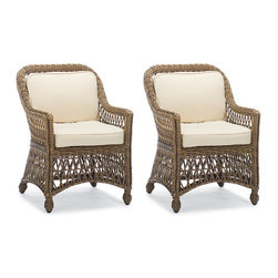 Frontgate - Hampton Set of Two Outdoor Dining Chairs with Cushion in Driftwood Finish - Blue - Handwoven premium resin wicker. UV-protected, antimicrobial. Rust-resistant powdercoated frame. Cushions included. 100% solution-dyed and woven fabrics. Our Hampton Dining Collection has a relaxed, southern attitude, intricately handwoven in driftwood-weathered resin wicker. You'll enjoy al fresco meals more as you unwind in thickly cushioned seat and back covered in the industry's best all-weather fabrics. Part of the Hampton Collection.  .  .  .  .  . All-weather cushions have a high-resiliency foam core wrapped in plush polyester .