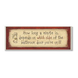 Stupell Industries - How Long a Minute Is.Long Rect Bath Wall Plaque - Made in USA. Ready for Hanging. Hand Finished and Original Artwork. No Assembly Required. 17 in L x 0.5 in W x 7 in H (2 lbs.)Point your guests in the right direction with elegant bathroom plaque. This decorative wall plaque is crafted of sturdy fiberboard with hand-finished coved borders, each plaque comes with a sawtooth hanger for easy installation on bathroom doors or walls.
