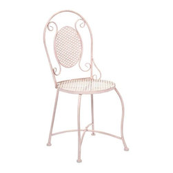 Yates Pink Iron Bistro Chair - Imagine indulging in a warm cup of coffee at the corner sidewalk cafe or a nice afternoon at the bakery for a sweet treat! This bistro chair adds color and personality to any location with its iron design.