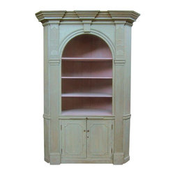Pre-owned Antique Green & Pink Corner Cabinet - This beautiful antique corner cabinet is a perfect blend of country style coziness and stately sophistication. This single piece cupboard consists of four shelves and a pull out surface on top, and a two door cabinet with interior shelving on the bottom. The ornate moulding and strong trim work give this piece a commanding presence.