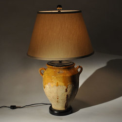 Lamp Making - Italian Ceramic Wine Jar/Vase is complimented well with a warm yellow shade.