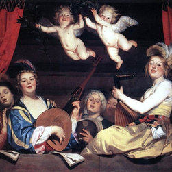 "Gerrit Van Honthorst Concert on a Balcony - 16"" x 20"" Premium Archival Print - 16"" x 20"" Gerrit Van Honthorst Concert on a Balcony premium archival print reproduced to meet museum quality standards. Our museum quality archival prints are produced using high-precision print technology for a more accurate reproduction printed on high quality, heavyweight matte presentation paper with fade-resistant, archival inks. Our progressive business model allows us to offer works of art to you at the best wholesale pricing, significantly less than art gallery prices, affordable to all. This line of artwork is produced with extra white border space (if you choose to have it framed, for your framer to work with to frame properly or utilize a larger mat and/or frame).  We present a comprehensive collection of exceptional art reproductions byGerrit Van Honthorst."