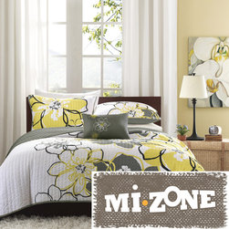 Mi-Zone - Mizone Mackenzie Yellow/Grey Patterned Polyester 4-piece Quilt Set - Keep warm and cozy with this gray polyester quilt by Mizone Mackenzie. With its microfiber backing and polyester filling,this quilt offers warmth and comfort. This reversible quilt set has one pillow and two shams. This product is machine washable.