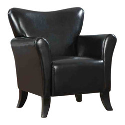 Adarn Inc - Contemporary Vinyl Upholstered Chair Accent Seating, Black - With its sleek back shape and flair tapered arms, this upholstered chair will add a contemporary accent to any room in your home. Upholstered in a durable leather-like vinyl and black finished legs, this accent chair is available in brown or black. Beautifully designed and crafted to endure, this modern upholstered chair will add support and comfort to your living room, family room, bedroom or home office.
