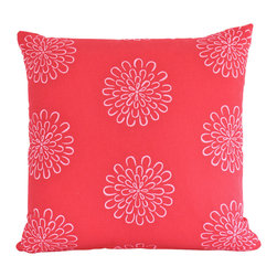 The Pillow Studio - Red Decorative Pillow Cover with Pink Flowers - I love this contemporary flower design-such a great graphic punch.