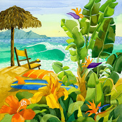 Tropical Yellow Beach Chair with Ocean Waves by Robin Wethe Altman - This is bright and warm and everything tropical combined into one stunning watercolor. Can't you just hear those waves crashing?