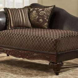 Chelsea Home - Traditional Chaise - Includes toss pillows. Diamond, fringe, contrasting striped with paisley pattern pillows. Sofa in sienna brown cover. Pillow in bi-cast brown fabric over high-density cover. Seating comfort: Medium. Plush, rolled arms. Attached back and Dacron wrapped foam seat cushions. Zippered cushions. 8.5 gauge medium loop sinuous springs spaced 5 in. apart. 1.8 density foam with 0.75 of fiber wrapping. Ornately carved wood trim. Fabric contains: 100% polyester. Made from mixed hardwoods and plywood. Made in USA. No assembly required. Seat: 46 in. L x 25.5 in. W x 22 in. H. Overall: 65 in. L x 32 in. W x 36 in. H (85 lbs.)The Chelsea Home Furniture Amelia Collections brings sense of Victorian elegance to any living room area. This beautiful set, by Chelsea Home Furniture, epitomizes Chelseas legendary reputation for quality and comfort.