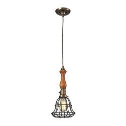 Elk Lighting - Elk Lighting 65137-1 Spun Wood Transitional Pendant Light - Elk Lighting 65137-1 Spun Wood Transitional Pendant Light in Vintage Brass/Vintage Rust