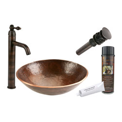"Premier Copper Products - Premier Copper Products BSP1_PV16RDB 16"" Hand Forged Copper Vessel Sink Package - Premier Copper Products BSP1_PV16RDB 16"" Hand Forged Copper Vessel Sink Package"