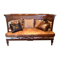 Maitland - Smith - Pre-owned Maitland Smith Mahogany Sofa - This Maitland Smith Mahogany Sofa is a one of kind piece that is no longer being made by Maitland Smith. The sofa has rattan caning with faux baby sera and brown leather .  Perfect for the gentlemen's study!