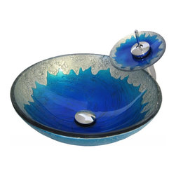 """Novatto - Novatto Diaccio Hand Painted Glass Vessel Sink w/ Faucet, Drain & Mounting Ring - Enhance and harmonize your bath with Novatto's hand painted glass vessel and matching chrome waterfall faucet. This hand painted vessel sink features a stunning hand-painted design of blue with silver trim. Novatto uses advanced technology, including computerized glass processing and Italian furnaces, giving our glass basins unmatched structural integrity. This vessel sink and faucet combo is a great way to harmonize the decor by unifying color and textural design of the bathroom. The matching faucet disc directs the water flow into a graceful waterfall. When a bath demands superior design and quality, Novatto's glass vessels add that touch. Each glass sink and faucet features its own beauty of color, structural character and texture adding a sense of purity, elegance and distinctive look to any design. Glass vessel sinks can be used either in a powder room as a focal point or in a master bedroom for everyday use. Novatto's tempered glass cannot be compared to the everyday synthetic porcelains and ceramics. This vessel has a dramatic hand-painted design in eye-catching bright blue with silver trim and is constructed from thick 0.5 inch high tempered glass.  The waterfall faucet is constructed from solid brass with a high pressure ceramic cartridge. A single handle controls temperature and water flow. This sink and faucet set is designed for an above counter, single hole installation with standard U.S. plumbing connections. A matching chrome 0.5"""" inch tall mounting ring and 1.5 inch pop-up drain is included. Glass Vessel Dimensions: 16"""" x 5.5"""", Overall Faucet Height: 12 inches; Spout Height: 7.75 inches; Spout Reach: 5.5 Inches. Just add water and enjoy Novatto's Limited Lifetime Limited Warranty."""