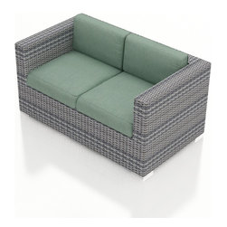 Harmonia Living - Urbana Modern Outdoor Loveseat, Weathered Stone Wicker, Spa Cushions - The Harmonia Living Urbana Rattan Patio Loveseat with Turquoise Sunbrella cushions (SKU HL-URBNWS-LS-SP) features clean lines, premium synthetic wicker and brushed aluminum feet, giving your outdoors a fantastic modern look. The High-Density Polyethylene (HDPE) wicker is infused with a Weathered Stone and UV treatment, creating long-lasting color that is fade-resistant and cannot be stripped off. Underneath the wicker is a sturdy, thick-gauged aluminum frame that is powder coated, making it incredibly corrosion resistant. The outdoor wicker seats are reinforced to prevent excessive wicker stretching, ensuring you and your guests can sit securely each time. The sofa includes seat and back cushions covered in fade- and mildew-resistant Sunbrella fabric, which is available in Canvas Spa.