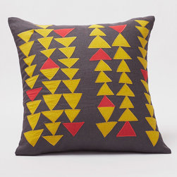 "Coyuchi - Coyuchi Triangle Row Gray & Yellow Pillow - The Coyuchi Triangle Row pillow energizes a sofa with contemporary flair. Across a gray background, yellow and red geometric appliques form modern columns. 18""W x 18""H; 100% linen; Coconut shell button closure; Kapok insert included; Hand wash or machine wash on delicate cycle; Machine wash insert separately"